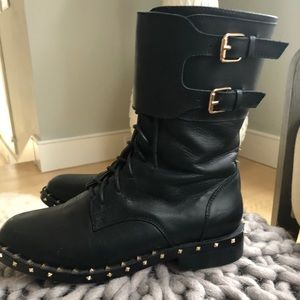 Valentino Rock-stud beautiful black leather boots